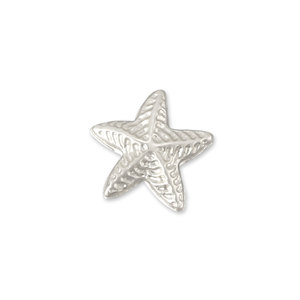 "Charms & Solderable Accents Sterling Silver Puffy Starfish Solderable Accent, 8.9mm (.35"") x 8.5mm (.33""), 26g - Pack of 5"