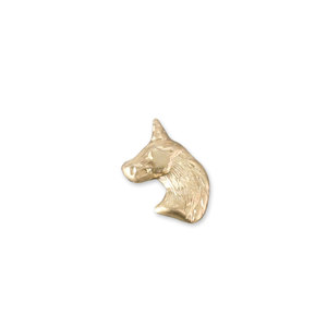 Charms & Solderable Accents Gold Filled Unicorn Head Solderable Accent, 26 Gauge - Pack of 5