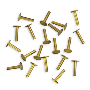 """Rivets and Findings  Brass Solid Nail Head 1/20"""" Rivets, 1/4"""" Long, Pack 100"""