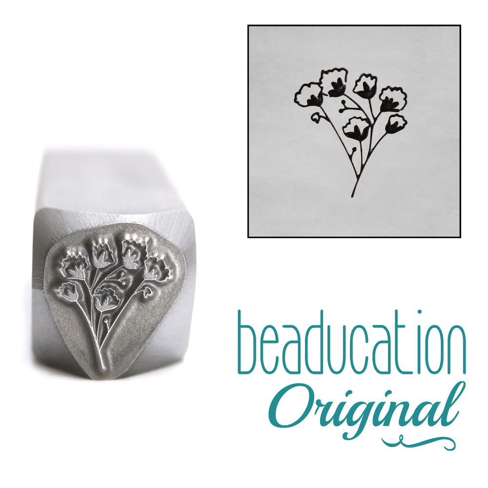 Metal Stamping Tools Baby's Breath 3 Flower Metal Design Stamp, 10mm - Beaducation Original