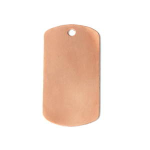 "Metal Stamping Blanks Copper Medium Dog Tag, 29mm (1.14"") x 16mm (.63""), 24g, Pk of 5"