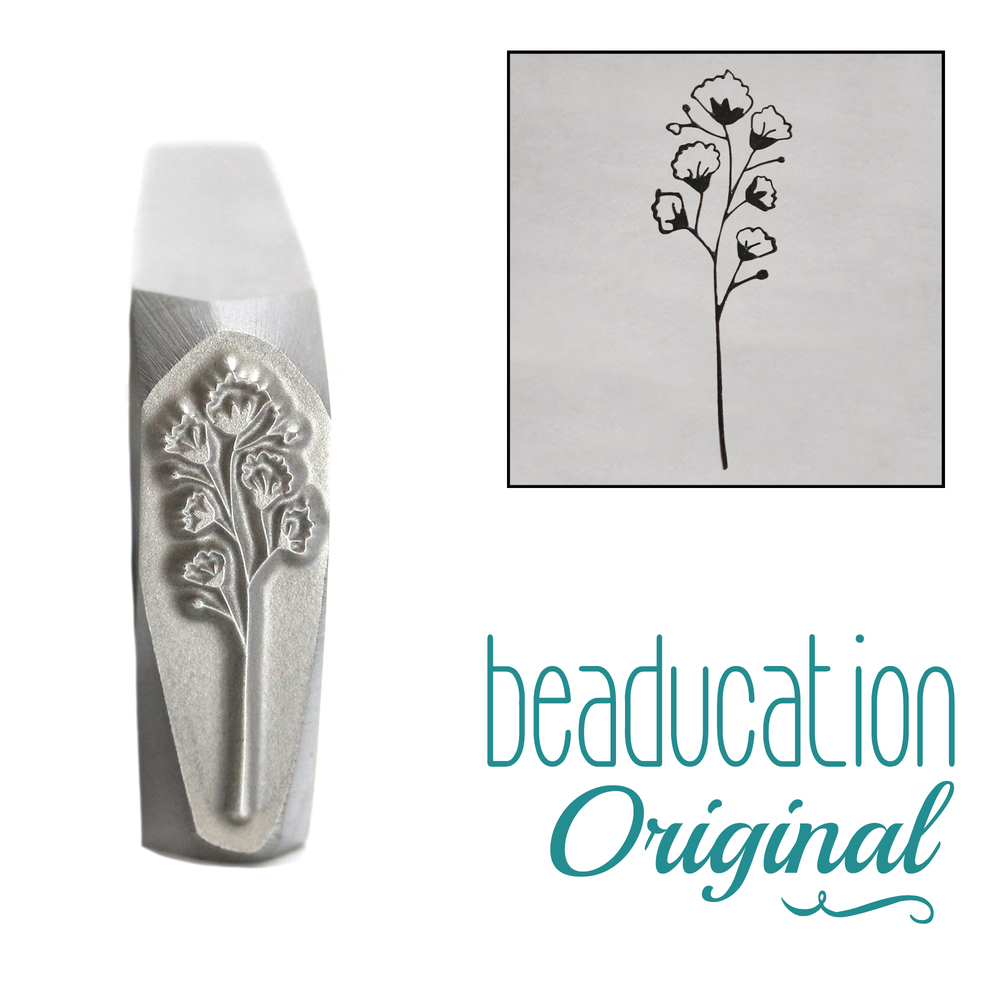 Metal Stamping Tools Baby's Breath 1 Flower Metal Design Stamp, 15mm - Beaducation Original