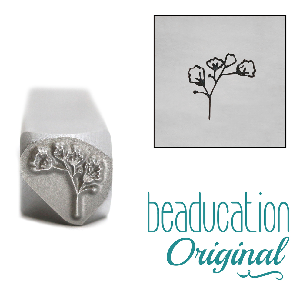 Metal Stamping Tools Baby's Breath 2 Flower Metal Design Stamp, 7mm - Beaducation Original