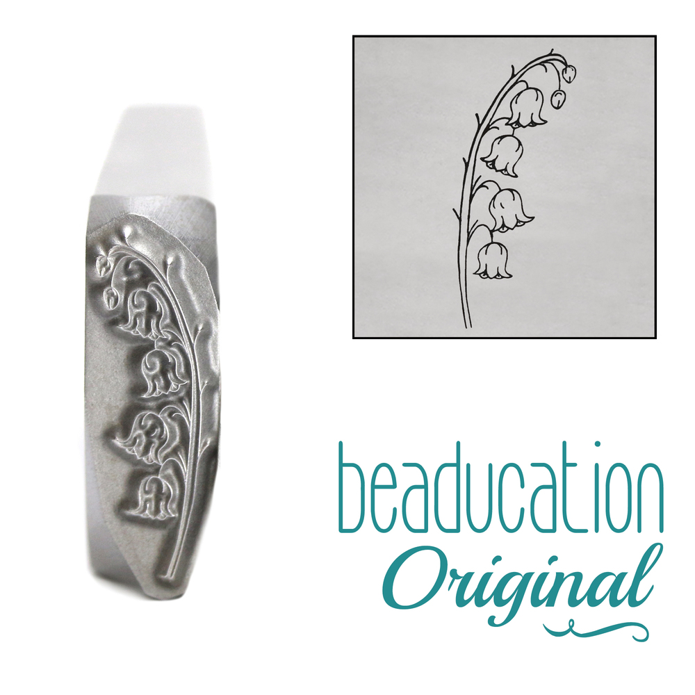 Metal Stamping Tools Lily of the Valley Pointing Right Metal Design Stamp, 16mm - Beaducation Original