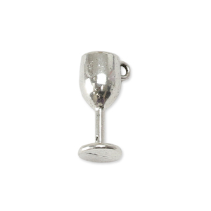 Charms & Solderable Accents Base Metal Wine Glass Charm, Pack of 10