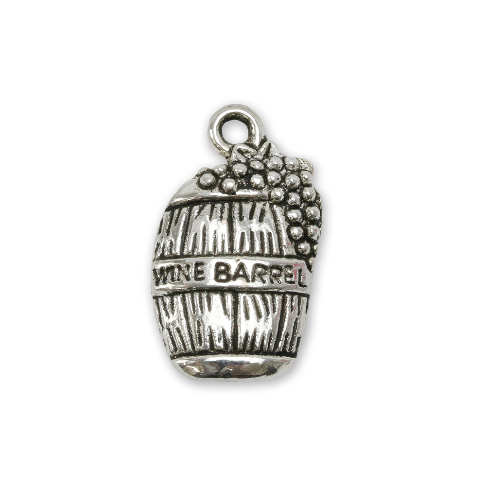 Charms & Solderable Accents Base Metal Wine Barrel Charm, Pack of 10