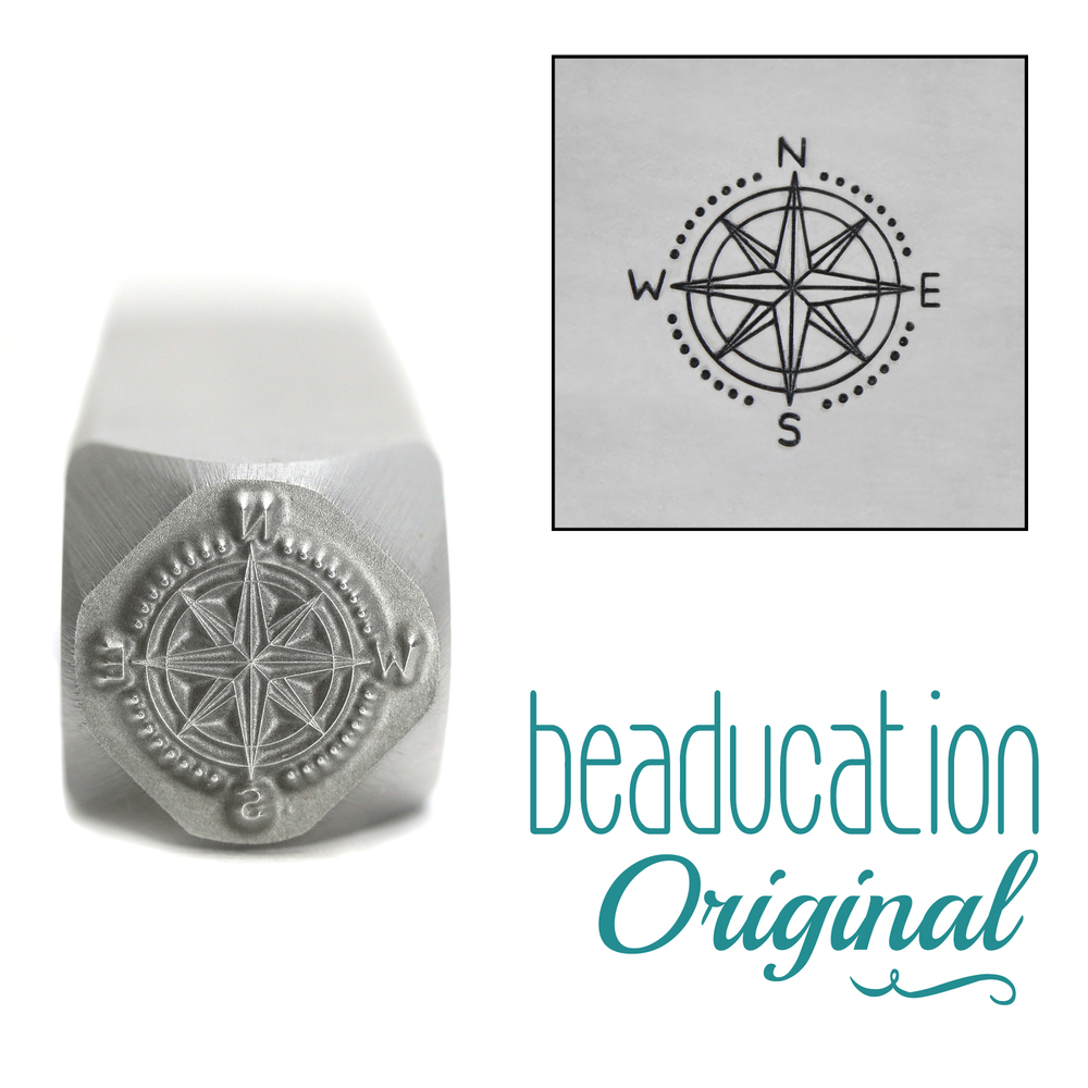 Metal Stamping Tools Compass Metal Design Stamp, 10mm - Beaducation Original