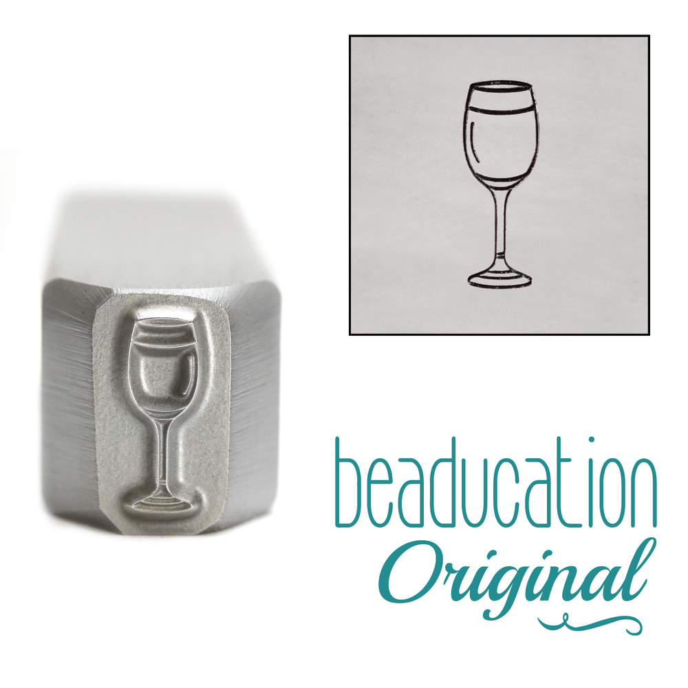 Metal Stamping Tools White Wine Glass Metal Design Stamp, 10.25mm - Beaducation Original