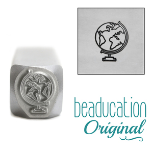 Metal Stamping Tools Globe Metal Design Stamp, 9.5mm - Beaducation Original