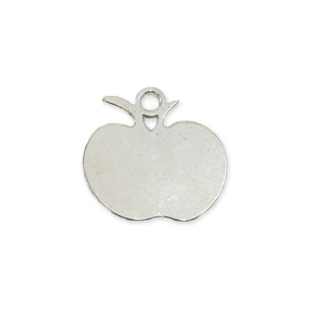 "Charms & Solderable Accents Base Metal Flat Apple Charm, 18mm (.70""),  Pack of 5"