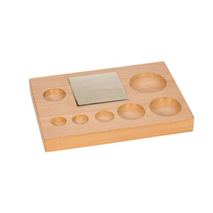 Jewelry Making Tools Wood Dapping Shaping Block with Steel Bench Block, 7 Round  Depressions
