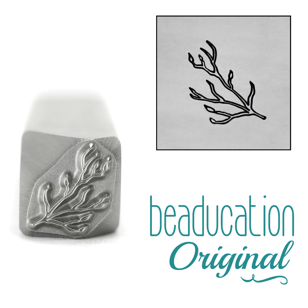 Metal Stamping Tools Branch / Stick with Buds Pointing Left Metal Design Stamp, 10.5mm - Beaducation Original