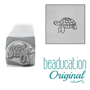 Metal Stamping Tools Sea Turtle Swimming Left Metal Design Stamp, 8.1mm - Beaducation Original
