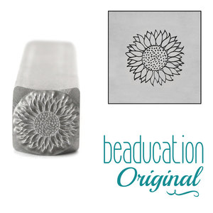 Metal Stamping Tools Sunflower Metal Design Stamp, 8.2mm - Beaducation Original