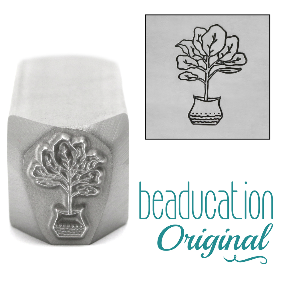 Metal Stamping Tools Fiddle Leaf Fig Tree Metal Design Stamp, 13mm - Beaducation Original