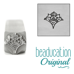 Metal Stamping Tools Fan 5, Floral Mandala Element Metal Design Stamp, 8mm - Beaducation Original
