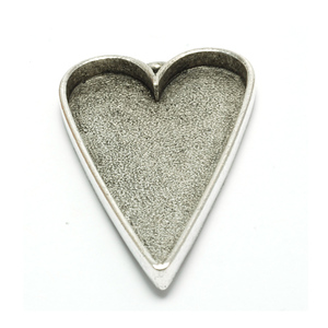 Enamel, Patina & Resin Plated Silver Large Tall Heart Designer Bezel