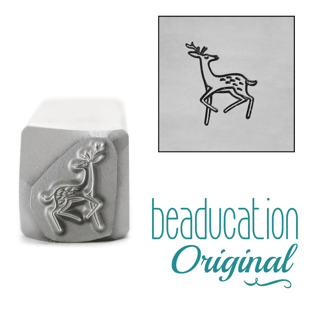 Metal Stamping Tools Graceful Deer Trotting Left Metal Design Stamp, 9.5mm - Beaducation Original