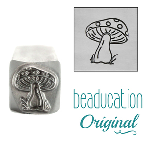 Metal Stamping Tools Mushroom with Dots Metal Design Stamp, 10.5mm - Beaducation Original