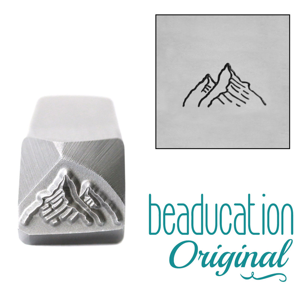 Metal Stamping Tools Two Mountains, Tall Peak on the Right Metal Design Stamp, 10mm - Beaducation Original
