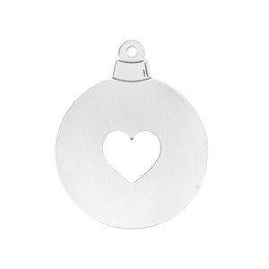 "Metal Stamping Blanks Aluminum Ball with Heart Cutout Ornament Blank, 57.15mm (2.25"") x 51mm (2""), 14 Gauge"
