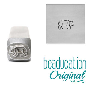 Metal Stamping Tools Baby Bear Walking Right Metal Design Stamp, 6.5mm - Beaducation Original