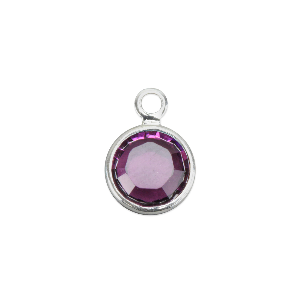 Charms & Solderable Accents Swarovski Crystal Channel Charm (Amethyst - FEBRUARY), 4mm Stone, Pack of 5
