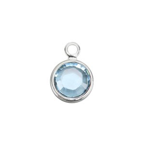 Charms & Solderable Accents Swarovski Crystal Channel Charm (Aquamarine - MARCH), 4mm Stone, Pack of 5