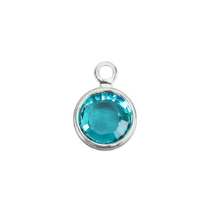 Charms & Solderable Accents Swarovski Crystal Channel Charm (Blue Zircon - DECEMBER), 4mm Stone, Pack of 5
