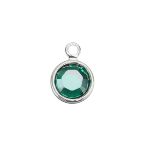 Charms & Solderable Accents Swarovski Crystal Channel Charm (Emerald - MAY), 4mm Stone, Pack of 5