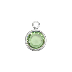 Charms & Solderable Accents Swarovski Crystal Channel Charm (Peridot - AUGUST), 4mm Stone, Pack of 5