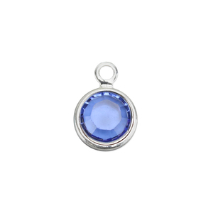 Charms & Solderable Accents Swarovski Crystal Channel Charm (Sapphire - SEPTEMBER), 4mm Stone, Pack of 5