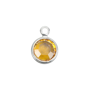 Charms & Solderable Accents Swarovski Crystal Channel Charm (Topaz - NOVEMBER), 4mm Stone, Pack of 5