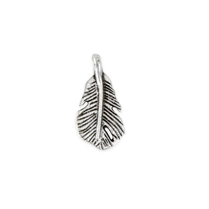 "Charms & Solderable Accents Base Metal Short Fat Feather Charm 18mm (.71""), Pack of 10"