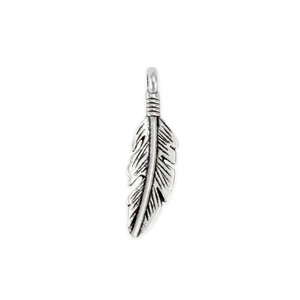 """Charms & Solderable Accents Base Metal Feather Charm 23.5mm (.93""""), Pack of 10"""
