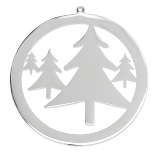 "Metal Stamping Blanks Stainless Steel Open Circle with Trees Ornament, 80mm (3.1"") x 76mm (3""), 18 Gauge"