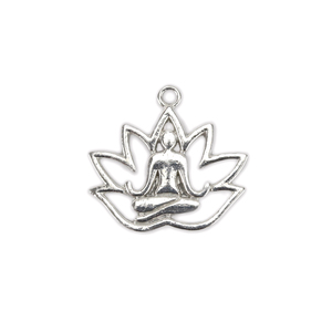 "Charms & Solderable Accents Base Metal Yoga and Lotus Charm 18mm (.71""), Pack of 10"