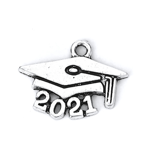Charms & Solderable Accents Base Metal Graduation Cap 2021 Charm, Pack of 5