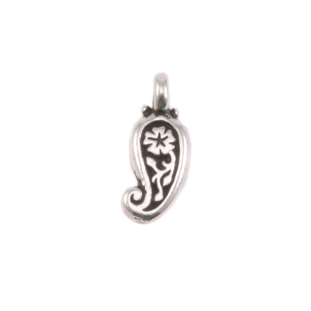 Charms & Solderable Accents Plated Silver Charm: Paisley