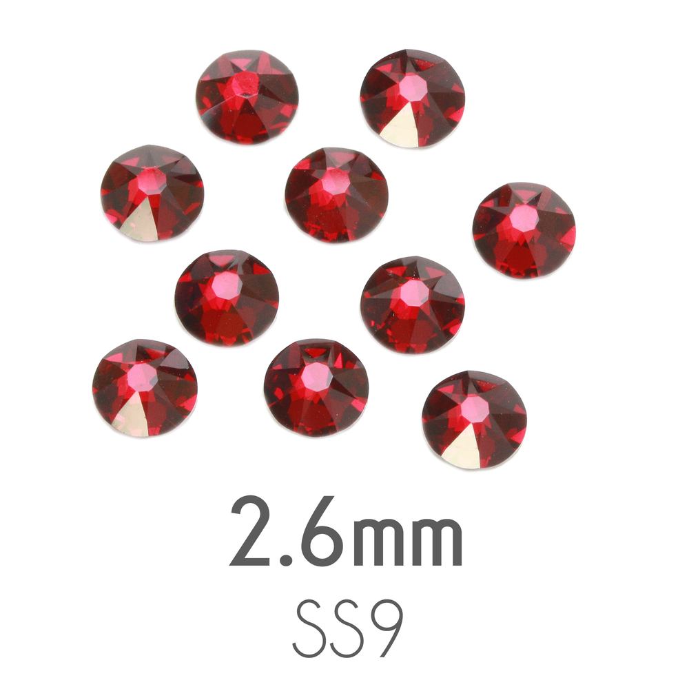 Beads & Swarovski Crystals 2.6mm Swarovski Flat Back Crystals, Siam, Pack of 20