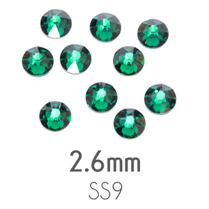 Beads & Swarovski Crystals 2.6mm Swarovski Flat Back Crystals, Emerald, Pack of 20