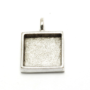 Enamel, Patina & Resin Plated Silver Square Designer Bezel