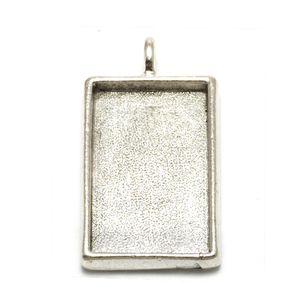 Enamel, Patina & Resin Plated Silver Rectangle Designer Bezel