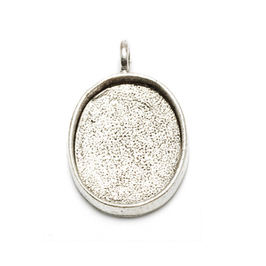 Enamel & Mixed Media Plated Silver Oval Designer Bezel