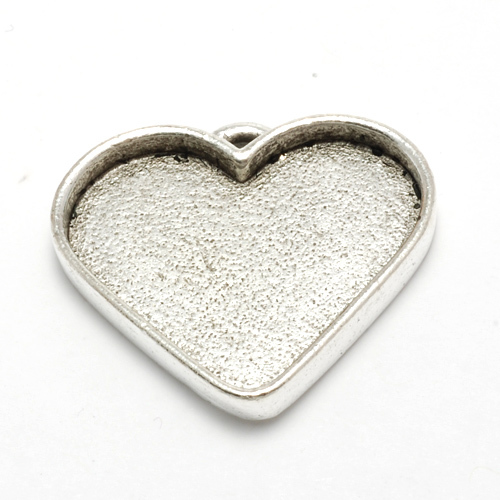Plated Silver Wide Heart Designer Bezel