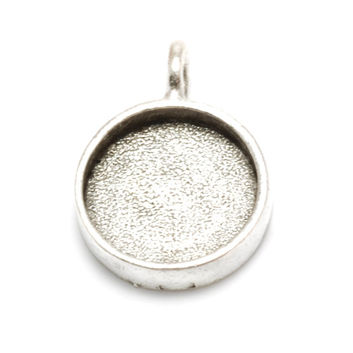 "Enamel & Mixed Media Plated Silver Round Designer Bezel, 5/8"" (16mm)"
