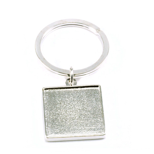 Enamel, Patina & Resin Plated Silver Keychain with Double Sided Bezel