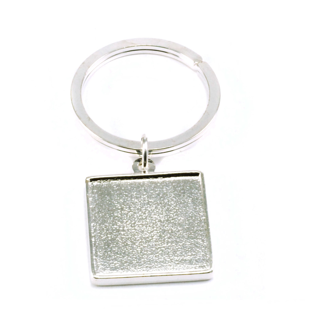Plated Silver Keychain with Double Sided Bezel