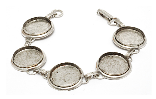 "Enamel, Patina & Resin Plated Silver Bracelet with 5 Bezels, 11/16"" (16mm) ID"