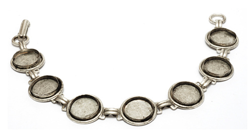 "Enamel, Patina & Resin Plated Silver Bracelet with 7 Bezels, 7/16"" (11mm) ID"